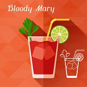 picture of bloody mary  - Illustration with glass of bloody mary in flat design style - JPG