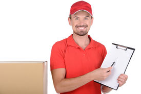 picture of fragile sign  - Happy smiling delivery man signing papers for delivery - JPG