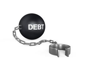 "stock photo of ball chain  - ""Debt"" Ball and Chain isolated on white background. 3D render - JPG"