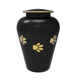 stock photo of urn funeral  - Black Cremation urn for pets 3d render isolated on white - JPG