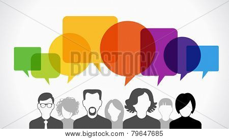 Icons of people with speech bubbles.  Vector illustration of a communication concept, The file is sa