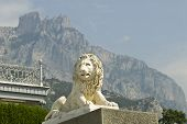 pic of crimea  - This marble lion sculpture is situated in Vorontsov Palace  - JPG