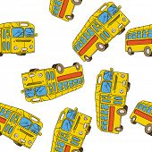 image of motor-bus  - bus seamless pattern on white - JPG