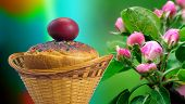 Постер, плакат: Easter Cakes And Red Easter Egg Beside A Blossoming Apple Tree