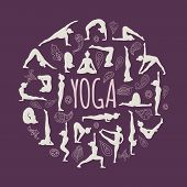 picture of yoga instructor  - Set of yoga poses - JPG