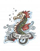 pic of seahorse  - Hand drawn vector illustration or drawing of a seahorse with a ribbon that says - JPG