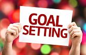 image of goal setting  - Goal Setting card with colorful background with defocused lights - JPG