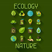 stock photo of ecology  - Ecology set of environment - JPG