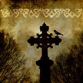 stock photo of celtic  - Old grunge paper background with celtic cross and ornament - JPG