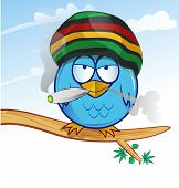 stock photo of jamaican  - fun jamaican owl cartoon on sky background - JPG