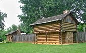 picture of revolutionary war  - cabins and defense works in the reconstructed Revolutionary War fort at Sycamore Shoals - JPG