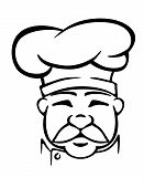 stock photo of tunic  - Black and white head outline of aged mustached cook in traditional chef hat and tunic - JPG