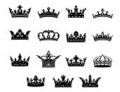 image of crown jewels  - Set of fifteen different black and white vector royal crowns for use in heraldry and decorative design elements for classical antiquity - JPG