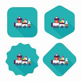 pic of cylinder pyramid  - Train Toy Flat Icon With Long Shadow - JPG