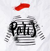 image of french beret  - Paris poster with a red beret and striped sweater painted in watercolor on crumpled paper - JPG