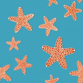 pic of starfish  - Bright seamless pattern with orange starfishes on a blue background - JPG