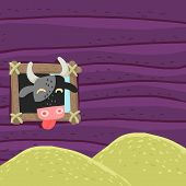 image of plunder  - Funny cow eats hay - JPG