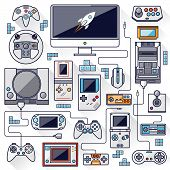 stock photo of arcade  - Flat design vector illustration concept of game environment tools and essentials - JPG