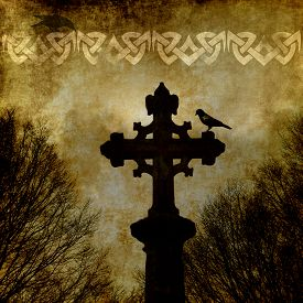 image of celtic  - Old grunge paper background with celtic cross and ornament - JPG