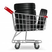 foto of trolley  - Supermarket Trolley with Tires isolated on white background - JPG