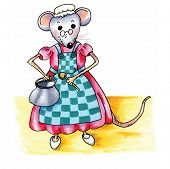 stock photo of mouse  - funny grandmother mouse with pan and spoon in the kitchen isolated over white background - JPG