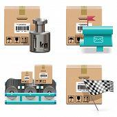 foto of mailbox  - Vector Shipment Icons Set 17 including carton box - JPG