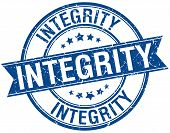 image of integrity  - integrity grunge retro blue isolated ribbon stamp - JPG