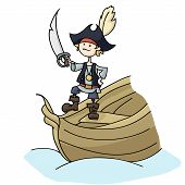 stock photo of raid  - Illustration of pirate boy holding sword - JPG