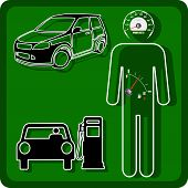 pic of speedometer  - Vector Man icon with the fuel gauge in my stomach and speedometer instead of the head - JPG