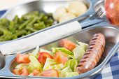 stock photo of loin cloth  - Tray of food in a school canteen - JPG