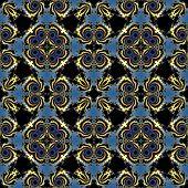 picture of mandelbrot  - Fractal blue and black floral pattern teture or background - JPG