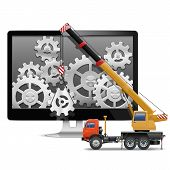 image of crane hook  - Computer Repair Concept with computer monitor - JPG