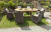 foto of house-plant  - The Garden furniture in the house garden - JPG