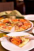 picture of tourist-spot  - Authentic pizza with tomatoes smoked sausage bacon and parsley - JPG