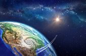 picture of outer  - Very high definition picture of planet earth in outer space - JPG