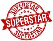 image of superstars  - superstar grunge retro red isolated ribbon stamp - JPG
