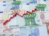 picture of economizer  - Background of euro and arrow up - JPG