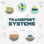 "pic of railroad car  - ""Transport systems"" phrase transportation (truck car ship airplane and train) and tools - JPG"