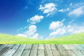 image of paving  - green grass and blue sky with wooden paving - JPG
