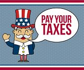 foto of uncle  - uncle sam cartoon over blue background - JPG