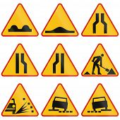 Постер, плакат: Road Condition Warning Signs In Poland