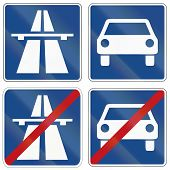 picture of traffic sign  - German traffic signs about beginning and end of Autobahn  - JPG