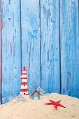 image of beach-house  - Row blue beach houses with vintage wooden background - JPG