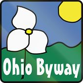 stock photo of trillium  - Scenic byway shield in Ohio USA showing the state flower of Ohio the white trillium  - JPG