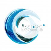 picture of slogan  - Vector blue swirl line abstract background - JPG