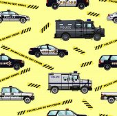 foto of armored car  - Detailed seamless background with police cars in a flat style - JPG