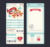 stock photo of boarding pass  - Cartoon Boarding Pass Ticket Wedding Invitation Template Vector - JPG