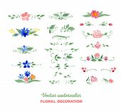 stock photo of floral bouquet  - Vector watercolor floral elements - JPG