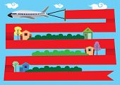 pic of row houses  - Vector illustration of flying airplane with red ribbon banner wrapping around neighborhood with rows of houses and homes - JPG
