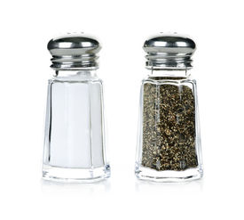 picture of salt shaker  - Glass salt and pepper shakers isolated on white background - JPG